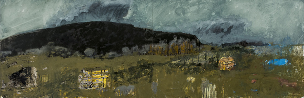 """Fields at Mora, 2016, Oil and graphite on Yupo, 26"""" x 80"""""""