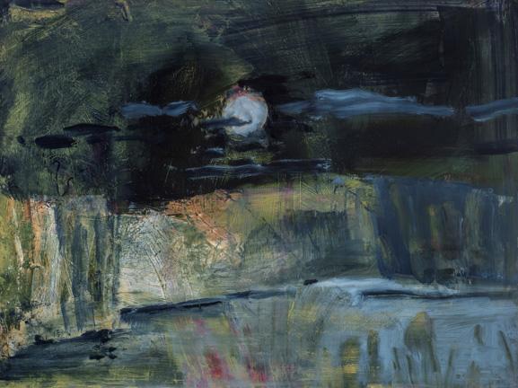 "Moon at Caprock, 2018, Oil on gessoboard, 12"" x 16"""