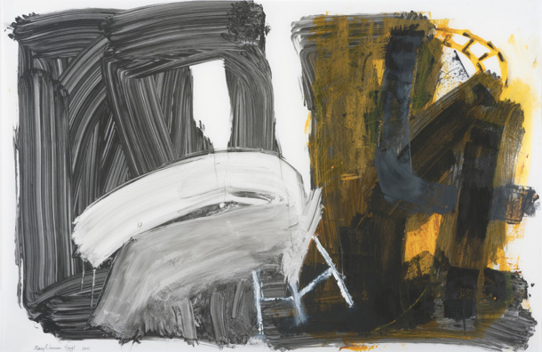 """Spill, 2011, Oil and graphite on Yupo, 26"""" x 40"""""""