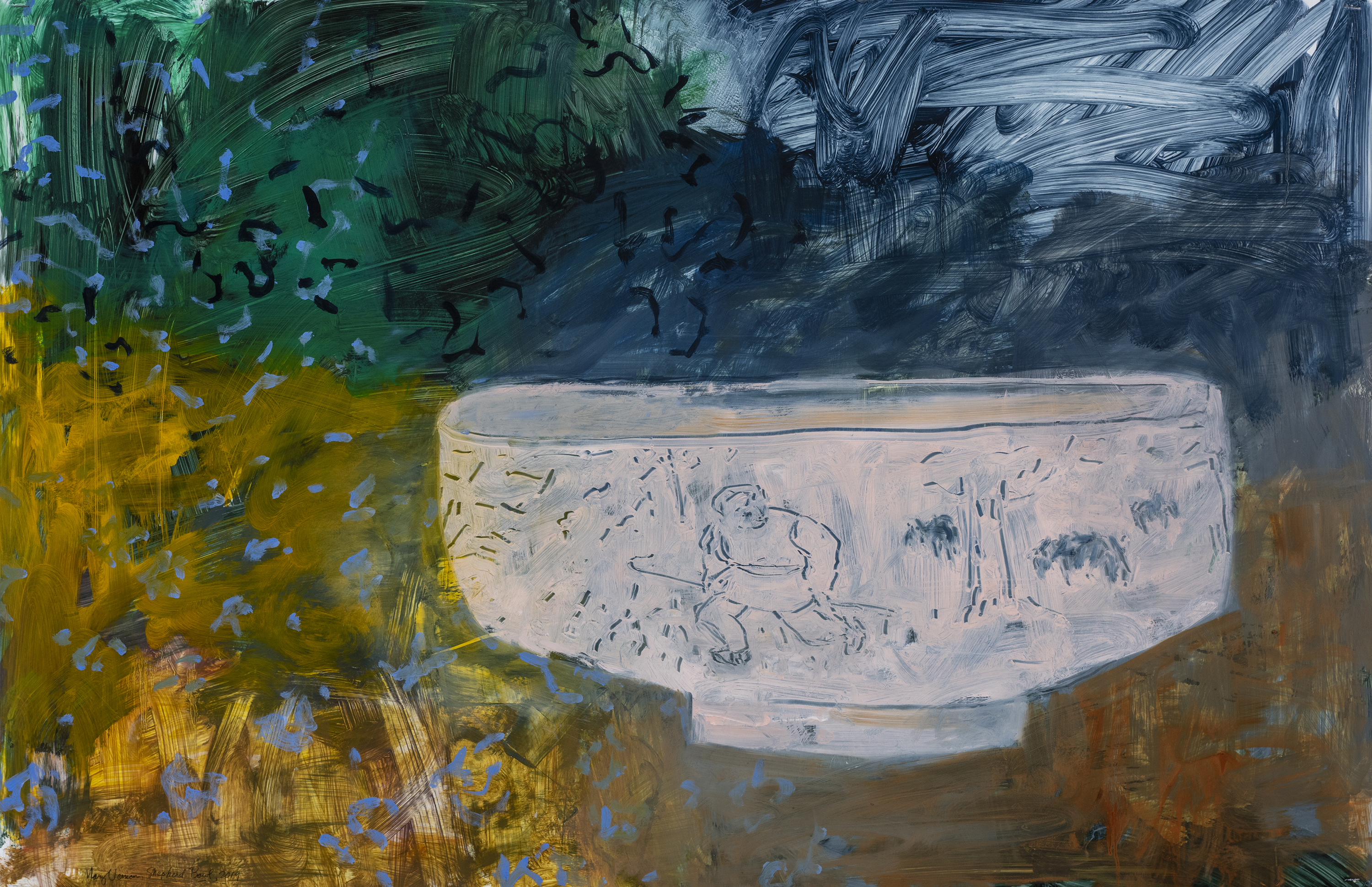 "Shepherd Bowl, 2019, Oil and acrylic on Yupo, 26"" x 40"""