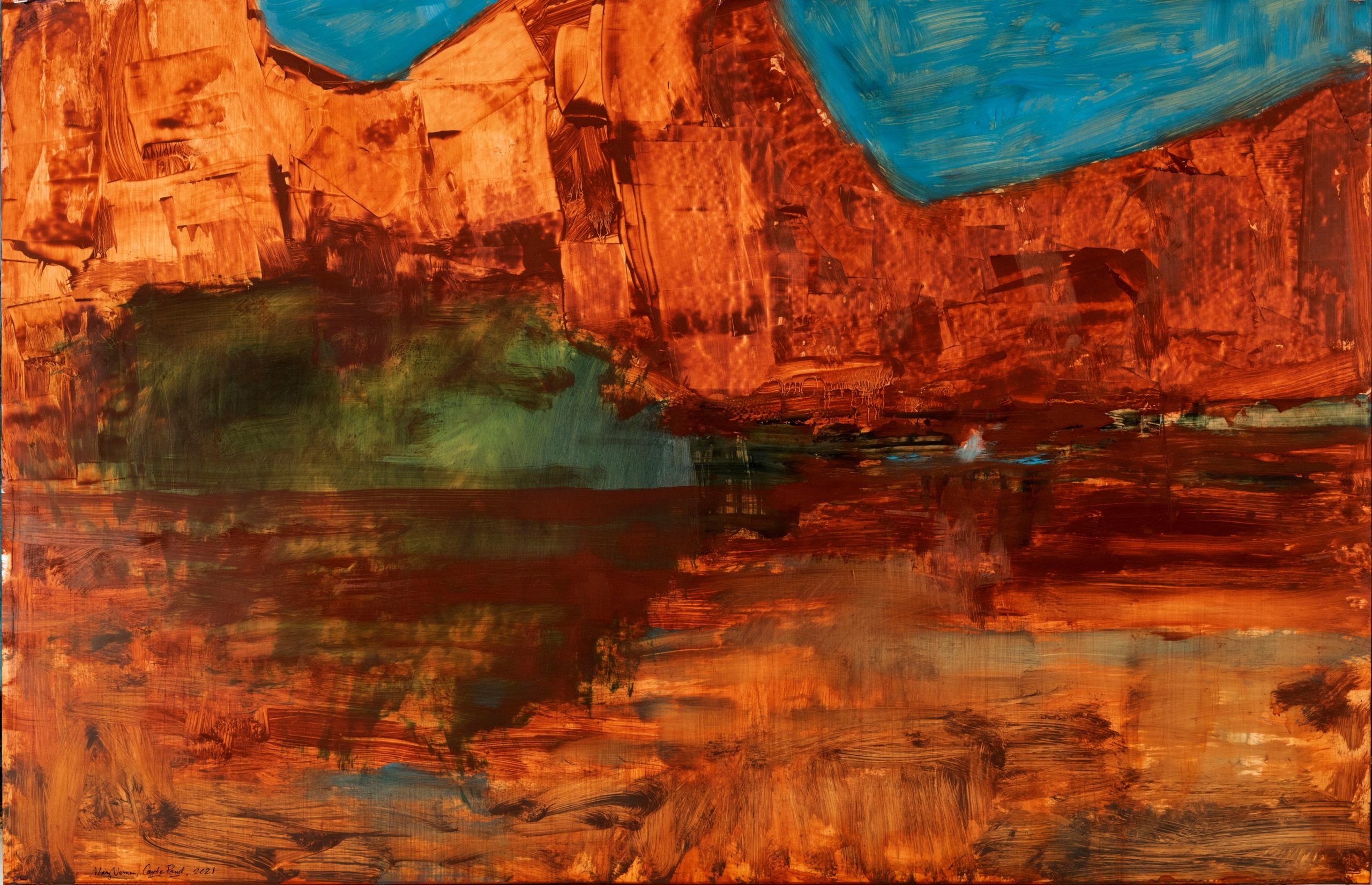 """Coyote Pond, 2021, Oil on Yupo, 26"""" x 40"""""""